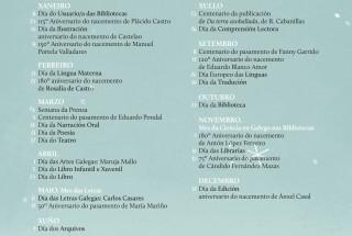 Calendario do libro e da lectura de Galicia 2017